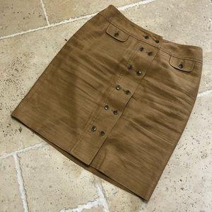 Anne Klein Button Down Front Skirt Pencil Linen